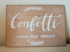 A5 Rustic wooden confetti sign for weddings - handmade