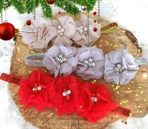 Christmas Xmas Baby Girl Headband Hairband Red Chiffon Flowers Rhinestone Pearls