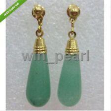 Natural Green Jade 14K GP teardrop Earring