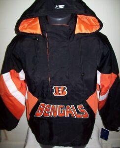 CINCINNATI BENGALS Starter Hooded Half Zip Jacket S M L XL 2X BLACK w ORANGE