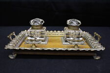 Edwardian Cast Brass & Wood Instand With Twin Cut Glass Inkwells