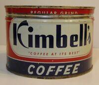 Old Vintage 1950s KIMBELL COFFEE KEYWIND COFFEE TIN ONE POUND FT. WORTH TEXAS TX