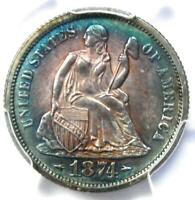 1874 Arrows PROOF Seated Liberty Dime 10C Coin - Certified PCGS Proof AU Details