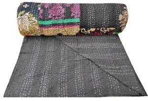 Bohemian Black Kantha Throw Indian Quilt Cotton Patchwork Bedspread Boho Decor
