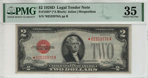 1928 D $2 LEGAL TENDER RED SEAL STAR NOTE FR.1505* PMG CHOICE VERY FINE 35 (976)