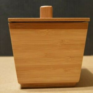 """Bamboo Box for Tea or Storage w/ Lid Packing Box Canister Container 4"""" square"""