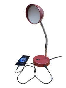LED Desk Lamp with USB Charging Port Adjustable Neck On/Off Switch MaxLite, New