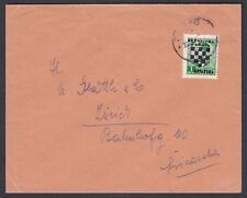 CROATIA 1940's ARMS OVERPRINTED COVER ZAGREB TO ZURICH SWITZERLAND