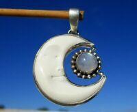 Mond aus Bein geschnitzt - Anhänger Silber 925 mit Mondstein !