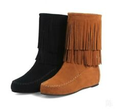 Womens Tassel Ankle Boots Suede Hidden Wedge Heel Booties Casual Shoes Pull On