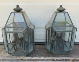 Pair Vintage Mid Century Modern Exterior Porch Lights Copper Brass Glass