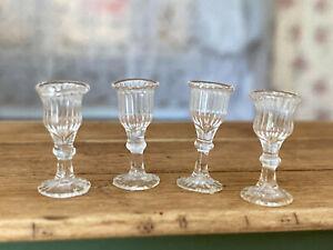 Vintage Miniature Dollhouse Artisan Set of 4 Hand Blown Stemmed Water Glasses