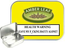 Amber Leaf Small Silver Hinged Gift Tin, 30ml Hinged Tobacco Tin, Camping Tin