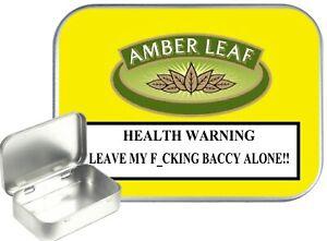 Amber Leaf Small Silver Hinged Gift Tin, 30ml Hinged Tobacco Tin, Camping Tin