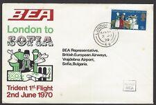 BEA Trident First Flight cover 1970 London to Sofia Bulgaria