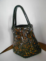Murano Style Large 14'  Art Glass Handbag Orange, Brown and Grays colors