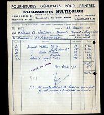 """BILLOM (63) MATERIEL & FOURNITURES pour PEINTRE """"Ets MULTICOLOR"""" en 1951"""