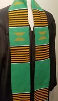 African Kente Cloth Graduation Choir Stole Scarf made in Ghana, Green and Gold