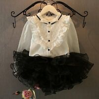 2pcs Kids Baby Girls Long Sleeve Shirt Top+Tutu Dress Skirt Clothes Outfit Set