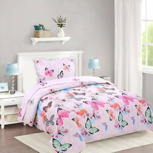 2pcs Kids Quilt Bedspread Comforter Set Throw Blanket for Quilt, A72 Butterfly