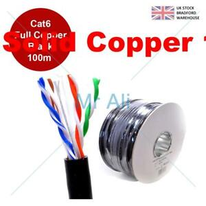 Cat6 Solid PE External Cable Black 100m Reel 100% OF Copper Networking Ethernet