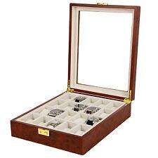 Tech Swiss Watch Box Storage for 20 Watches Burlwood Finish