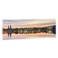 Keilrahmen Bild Leinwand Wandbild Panorama XXL Hamburg Alster 150 cm*50 cm 209