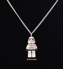 """Lego Star Wars Stormtrooper Handcrafted Necklace 30"""" Silver Chain Jewelry"""