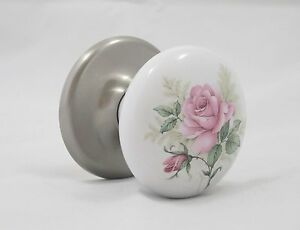 Painted Pink Roses on Porcelain Ceramic Door Knob with Satin Nickel Rosette