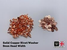 SOLID COPPER 9mm HOSE SADDLERS RIVETS/WASHER/SETTING TOOLS LEATHER CRAFTS