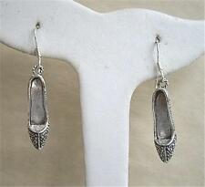 Fun Genuine Silver & Marcasite Stiletto Shoes Drop Earrings