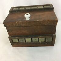 Vtg Hand Made Wood Rustic Americana Farm House Kitchen Recipe Box