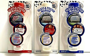 GLASS & POSTER MARKER ART & CRAFT by Verizon - Set Of 3 - RED/WHITE/BLUE - NEW