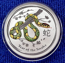 2013 Australia LUNAR SNAKE Coloured 1 Troy oz(31.135g)99.9% Pure Silver $1 B/Unc