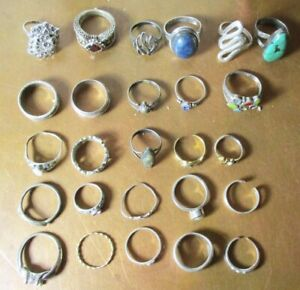 VINTAGE LOT 25 925 STERLING RINGS TURQUOISE BANDS CRYSTALS FIGURAL