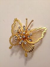 Vintage Monet Filigree GoldPlated Rhinestone Studded Butterfly Brooch  Pin (D3)
