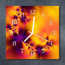 Glass Wall Clock Kitchen Clocks 30x30 cm silent Flowers Orange