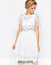 Frock and Frill Embellished Skater Dress With Cape Detail UK SIZE 10