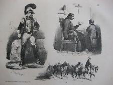 Lithographie ancienne originale Bellangé costumes romantisme catéchisme soldat