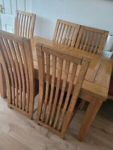 Oak Table (Extendable) + 6 High Back Chairs