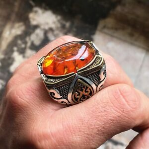 925 Sterling Silver Big Mens Ring Amber Bakelite Unique Handmade Turkish Jewelry