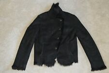 Joseph Black Lambskin Leather Shearling Button Biker Jacket Womens EU 42 UK 12