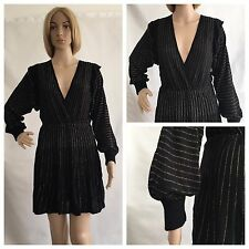 ZARA Black Thin Knit Shimmer Gold Striped Crossover Front Frilled Shoulder  Dress ca354a0b9