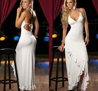 Ladies White Long Ruffle Trim Party Evening Formal Bridesmaid Dress Gown 10-12 N