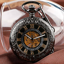 Luxury Golden Roman Numerals Engrave Automatic Mechanical Men Pocket Watch Chain