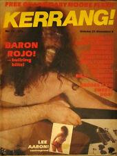 Kerrang Magazine Baron Rojo Aerosmith Genesis Hawkwind Lee Aaron No27 1982