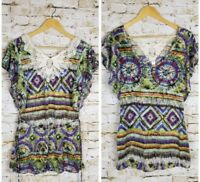 No Boundaries Size Medium Womens Top Shirt Blouse Lace Multi-Color Casual