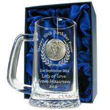 Rugby Engraved Beer Tankard 60th 70th 80th Birthday Personalised Boxed Gift