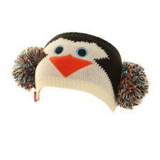 Diadema de punto de Invierno Pingüino Pom Pom Oreja Calentador Muff Negro Crema Naranja