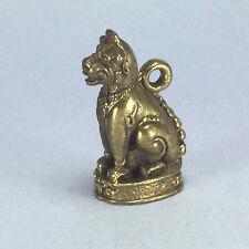 Miniature Figurine Brass Thai Literature Lion Singha Animal Pendant Metalwork